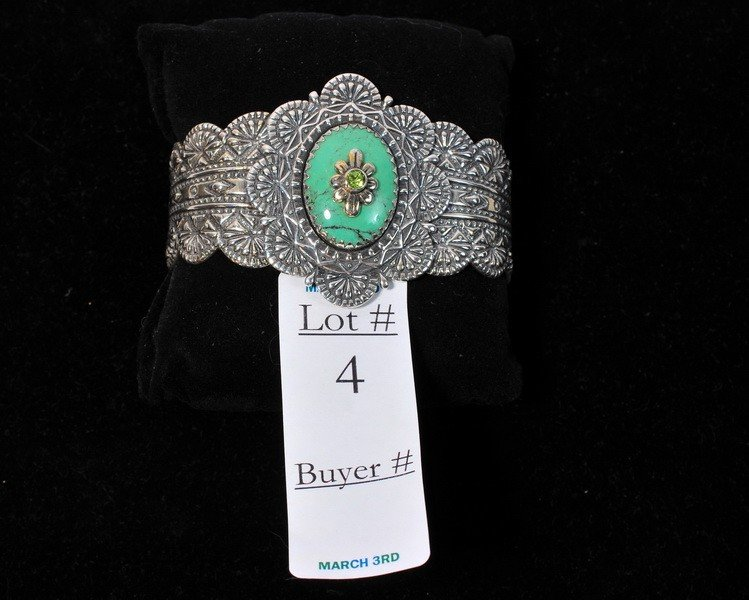 4: Turquoise and Amethyst Sterling silver cuff by Ann K