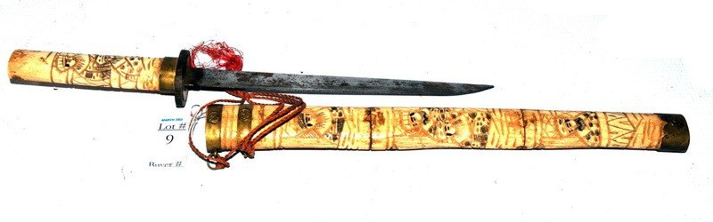 9: Carved bone scrimshaw knife with Asian figures