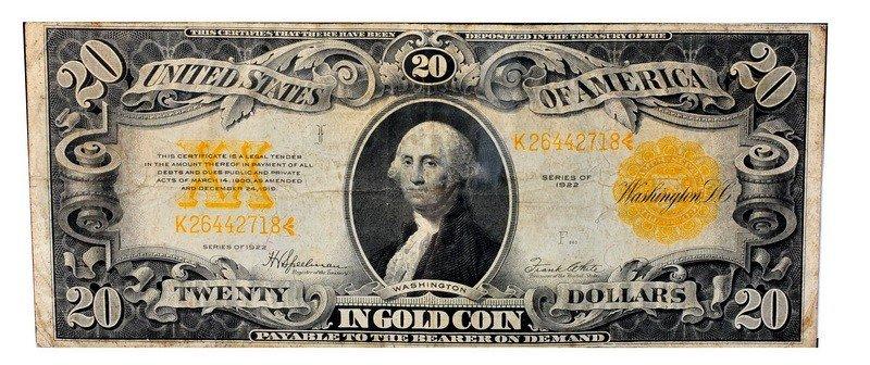 14: Series 1922 $20 Gold certificate