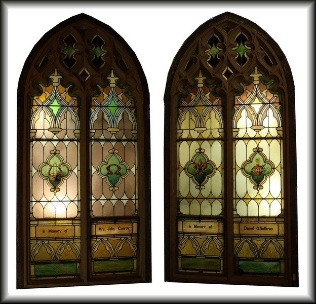"""16: Pair of 9'5"""""""" x4'6"""""""" Stained Glass Cathedral Church"""