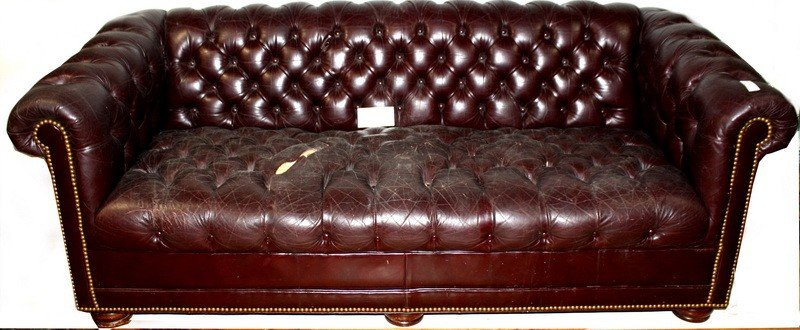 """17: 77"""" Leather couch"""