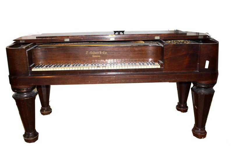 18: Antique Square Grand Piano labeled T. Gilbert of Bo