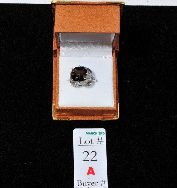 22A: 6 Carrot Checkerboard cut smokey quartz ring set i