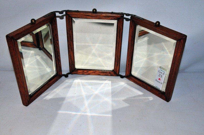 23A: Oak framed triple glass mirror
