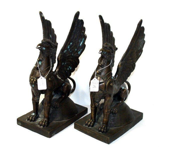 "26: Pair of 16"""" Bronze Winged Gargoyles with high degr"