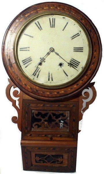 "29: Mahogany Inlaid Wall Clock 30""""H by F.J. Lancaster"