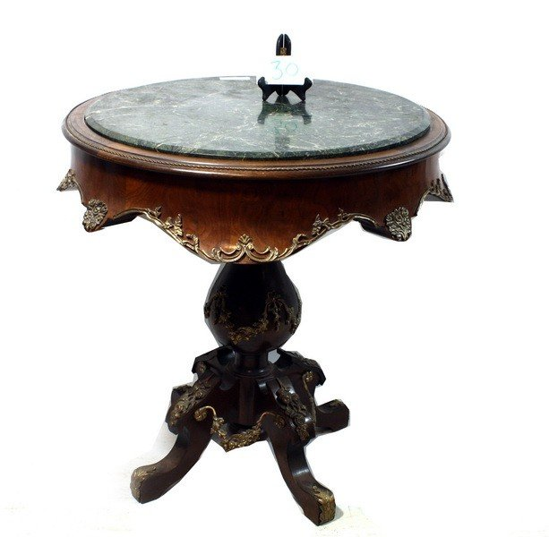 30: Marble Top and Brass Adorned Flame Mahogany Lamp St