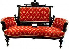 Eastlake Victorian Setee With Vibrant Red Pattern C