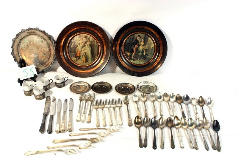 55: Silver plate lot with silver overlay