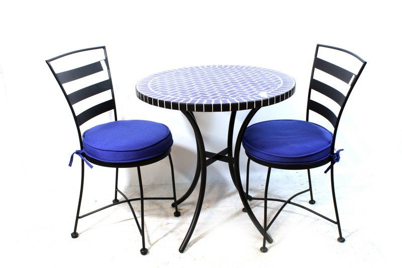 57A: Cafe Tables with 2 metal chairs and blue tile inla