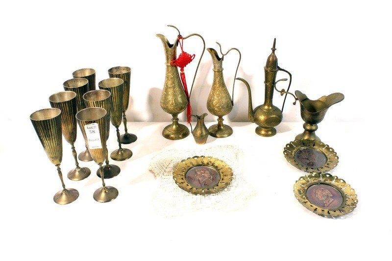 58: Brass lot with chalices