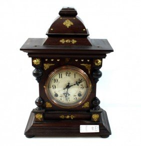 Brass Adorned Mahogany Mantle Clock With Key And Pe