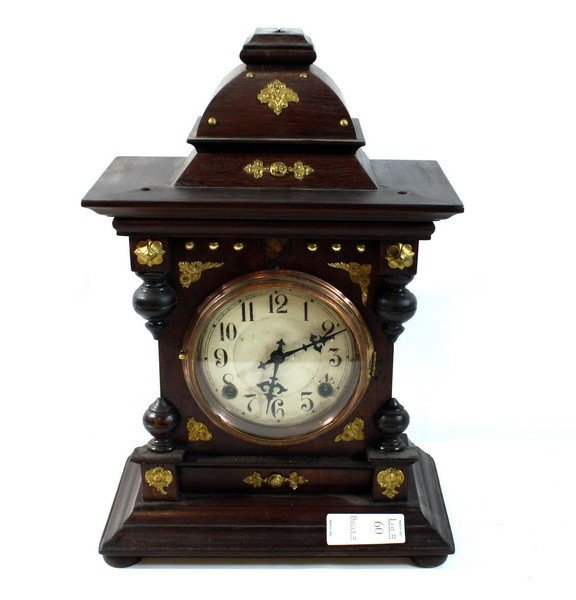 60: Brass Adorned Mahogany Mantle Clock with Key and Pe