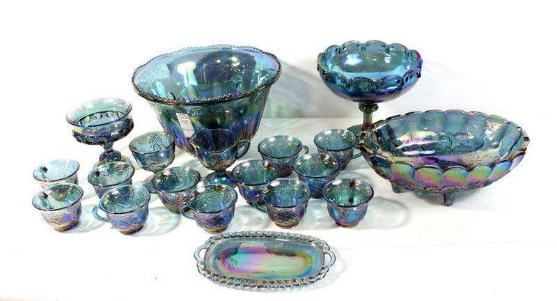 63: Carnival glass lot blue iridescent , fruit bowl,