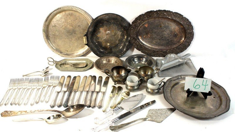 64: Silver plate and pewter lot with flatware and more