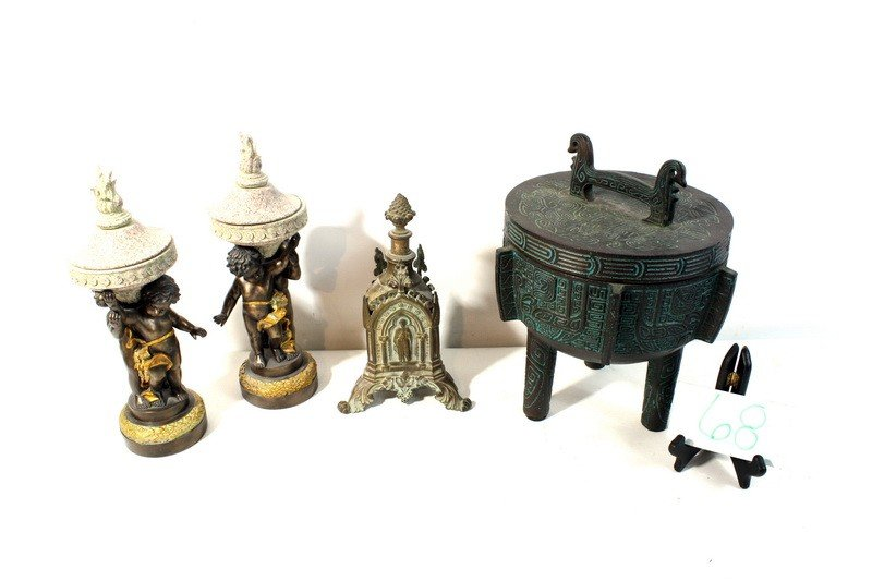 68: Lot with tripod cooker, contemporary statues, brass