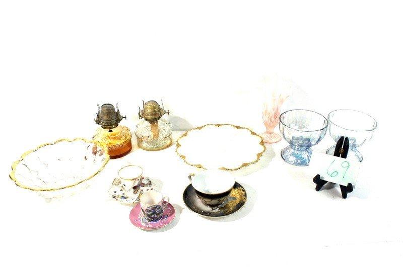 69: Dessert Cups Art Glass Vase, Kerosene Lamps and Bow