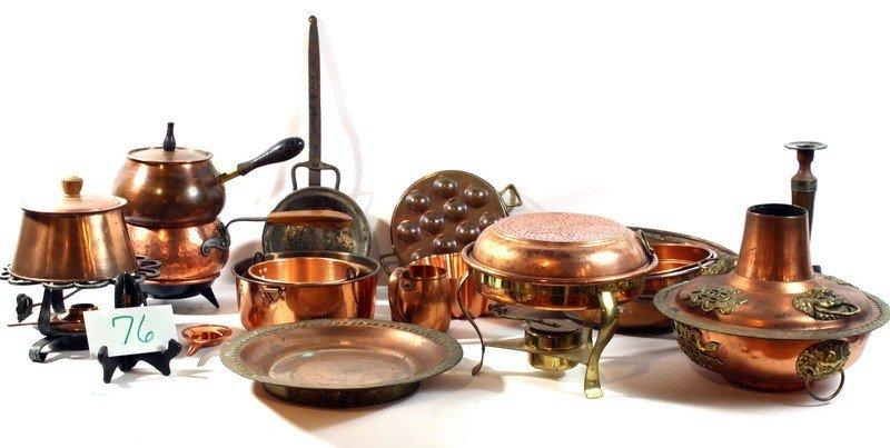 76A: Lot of copper pans