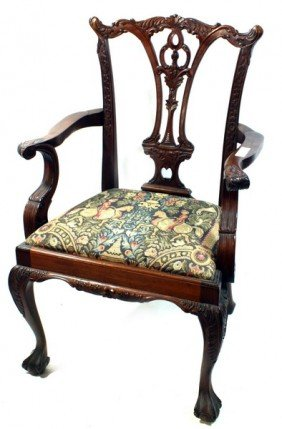 2 Carved Mahogany Chippendale Arm Chairs With Need