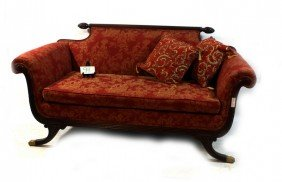 Victorian Mahogany Brass Adorned Settee With Red Fab