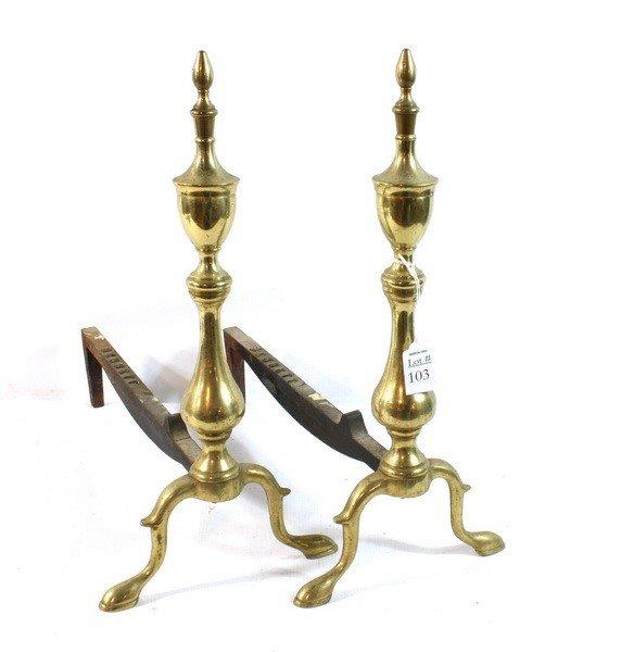 103: Brass andirons signed Bennett
