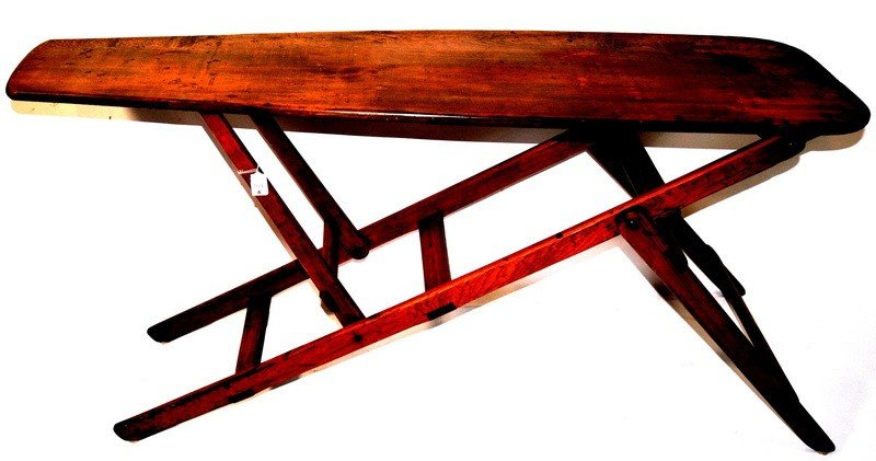 104A: Solid rustic wooden ironing board well made