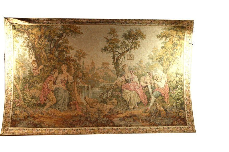 105: Large hanging tapestry 5' x 8' depicting romantic