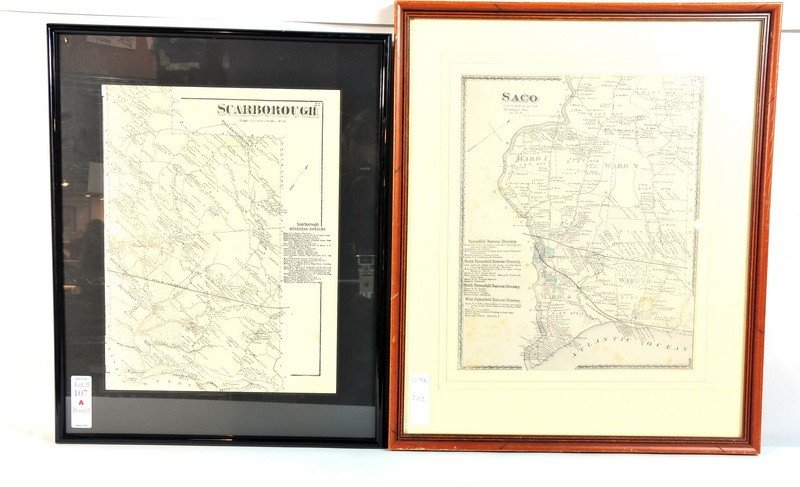 107A: Framed maps of Saco and Scarborough Maine