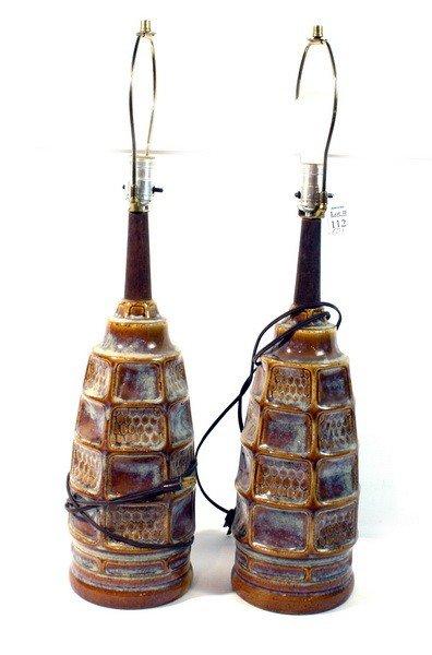 112: Pair of modern ceramic lamps