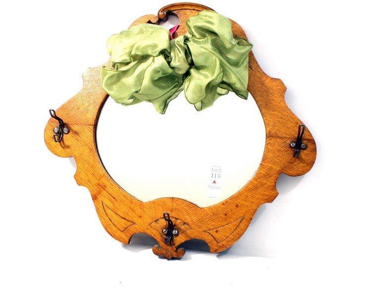 113A: Oak mirror with coat hooks
