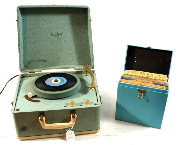 209: Truetone record player with early 45 records
