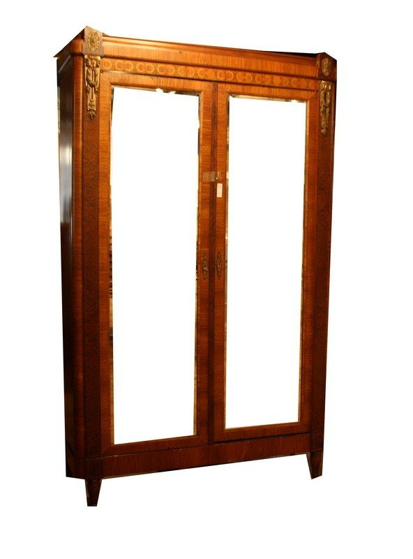 503: Mahogany Inlaid Two Door Mirrored Armoire