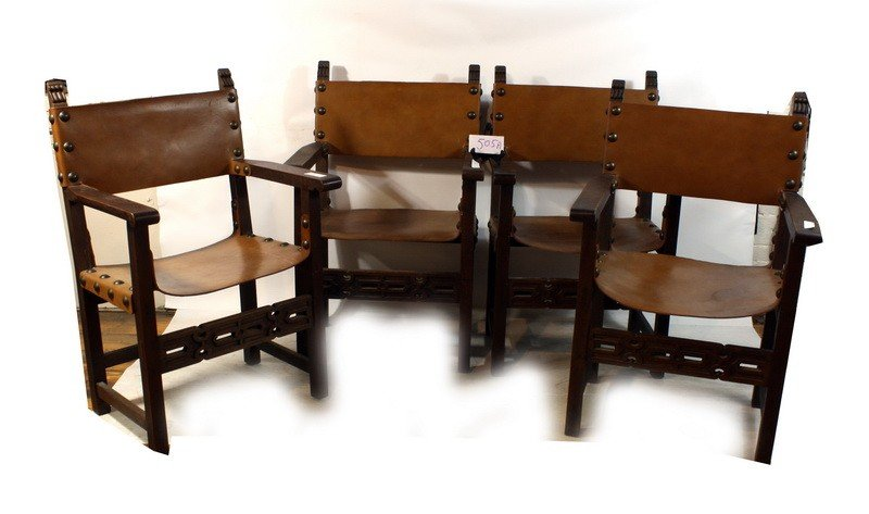 505A: Set of four leather seat mortis and tendon arm ch