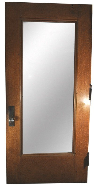 507: 90x42 Quarter sawn oak door with full view glass a