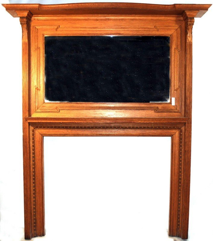 510: Oak fireplace mantle with beveled glass mirror 66x