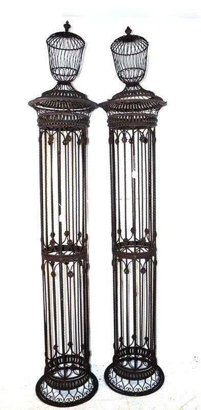 "511: Pair of 93"" Decorative iron lamp stands"