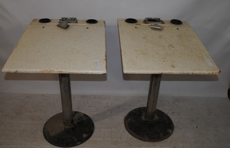 517: Pair of deco bowling tables