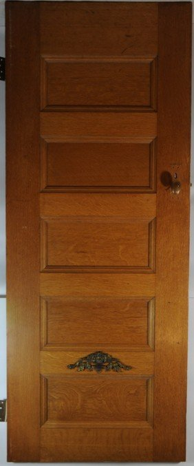 5 Panel Oak Door With Brass Hardware 80Hx29and3/4W
