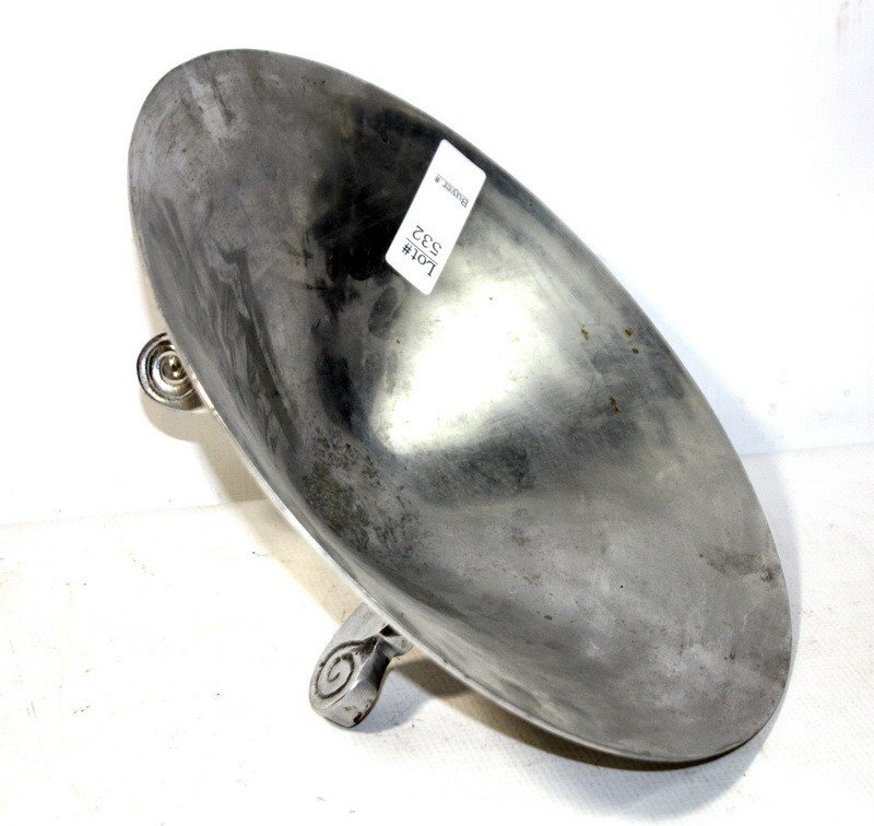 532: Silver plated decorative bowl with three legs