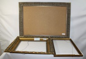3 Frames With Decorative Inlay, Gold With Wood Tri