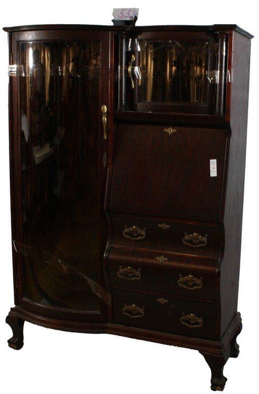 533A: Fancy ornate Mahogany secretary