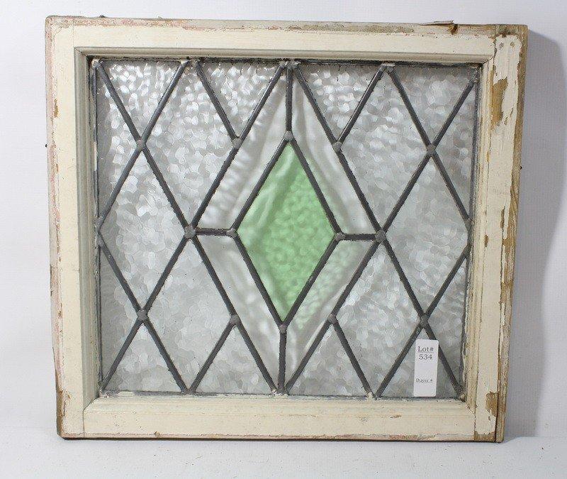 534: Stained glass window diamonds green, purple clear