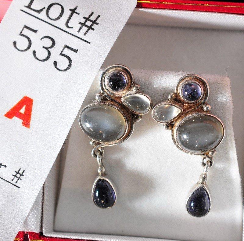 535A: Moonstone and Tanzanite earrings