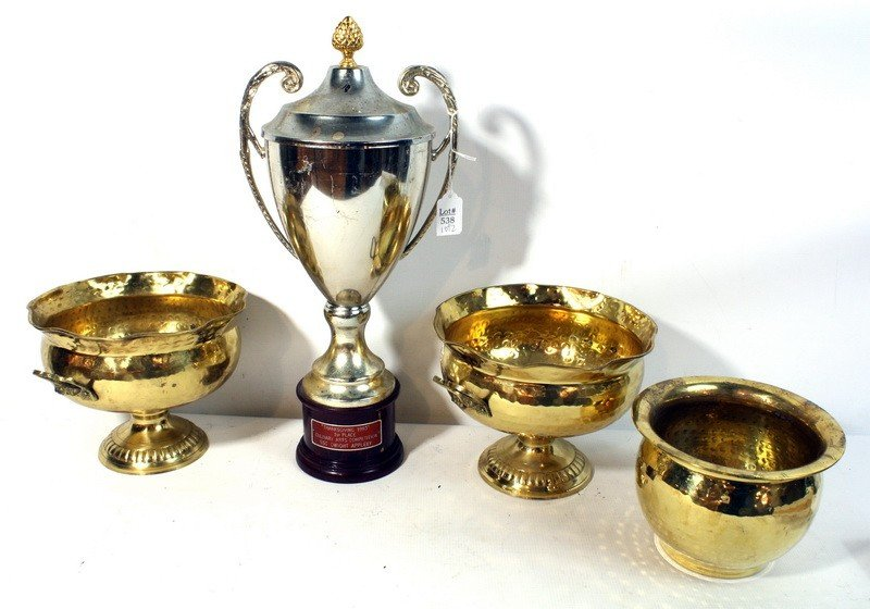 """538: Misc lot Silver plated trophy """"Thanksgiving 1993"""""""
