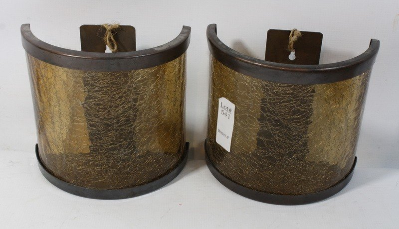 541: Pair of brown gold colored tea light cracked wall