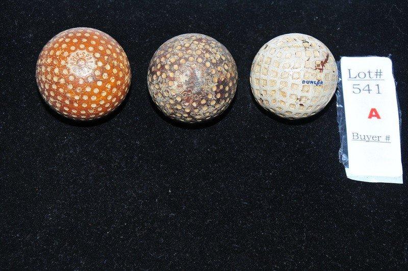 541A: Lot of 3 Golf Balls Circa 1890-1910