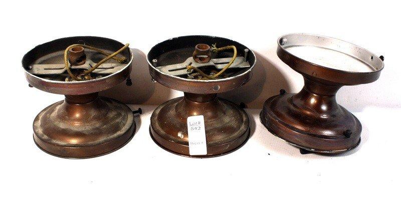 542: three copper in color light fixtures