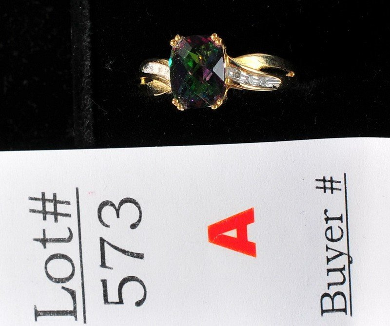 573A: 4 ct. Mystic topaz ring set in 10kt. gold setting