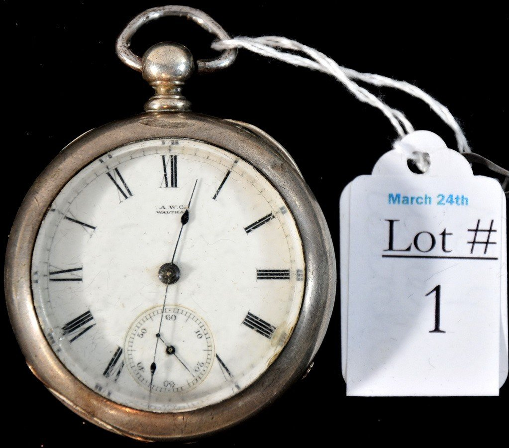 1: American Waltham Watch Co. Key Wind Pocket Watch WM