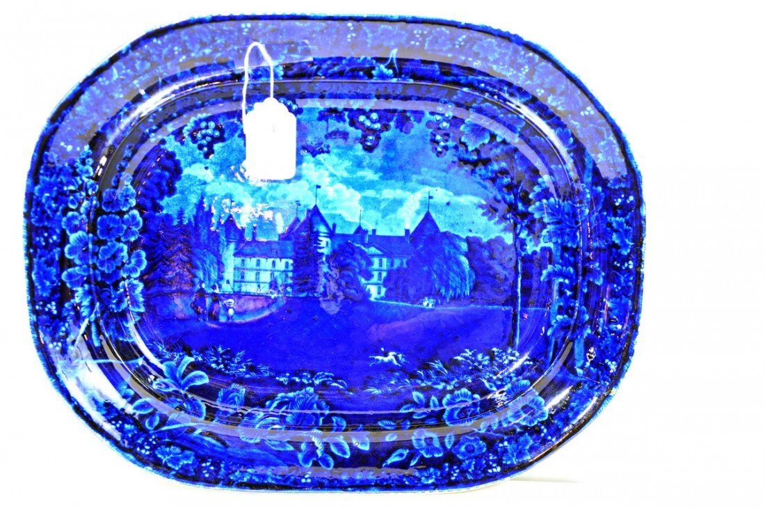 "4: 20 1/2"" Historical Flow Blue Platter ""LaGrange"" Lafa"